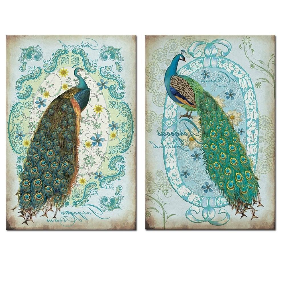 Animal paon mur Art peinture paon toile imprime photos œuvre moderne décor à la maison pour bureau chambre 16 ''x 24'' x 2 pièces