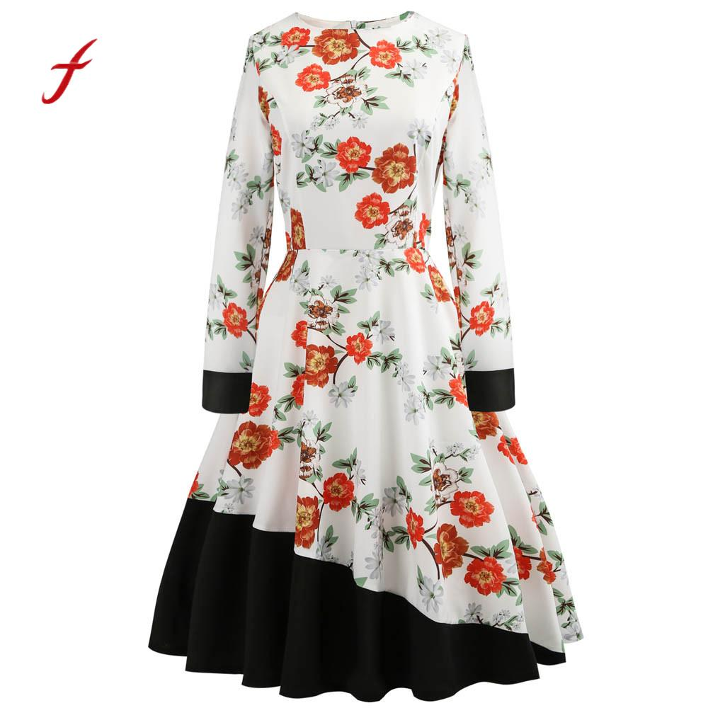 Feitong Women 1950s style dress Vintage Floral Bodycon Long Sleeve Casual elegant female Party Prom Swing