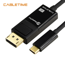 CABLETIME USB C to DisplayPort Cable 4K Black Type C to DP 1.2 for UHD External Video Projector 1.8m N109