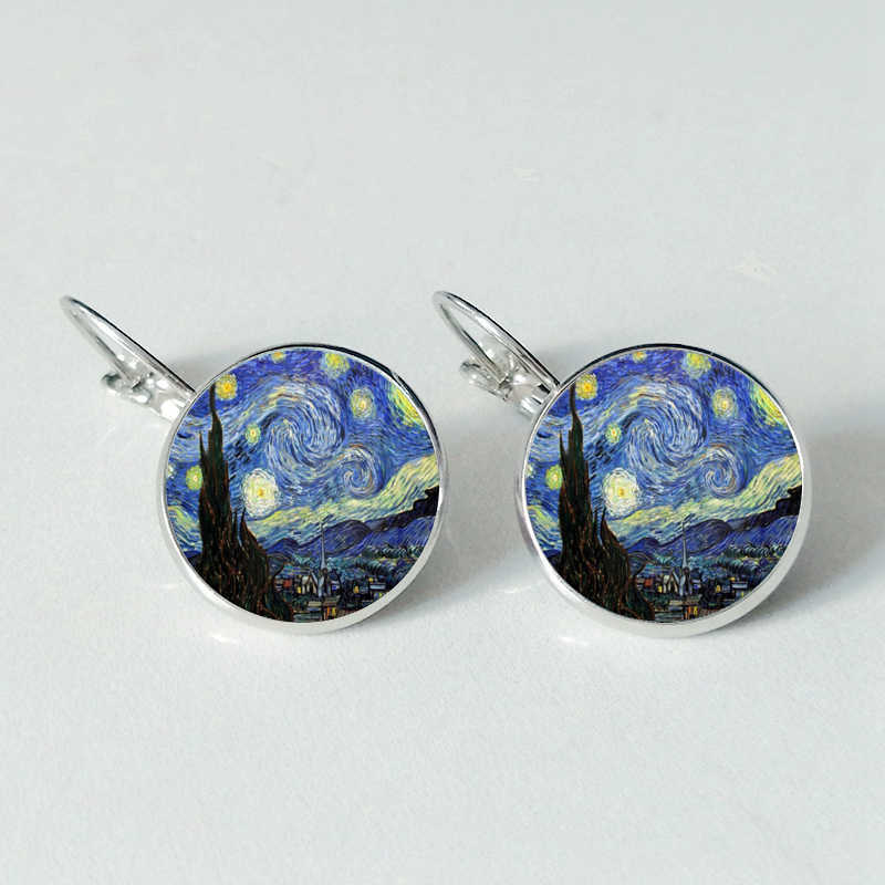 Fashion Van Gogh Art Painting Series Earings Van Gogh Starry Night Crystal Glass Cabochon Earings for Mens Wearable