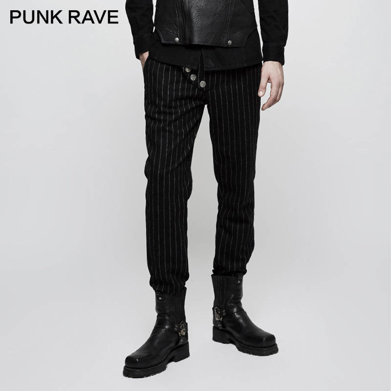 PUNK RAVE Punk militaire uniforme loisirs hommes pantalon formel mariage pantalon décontracté rayure montrer mince mode Long pantalon hommes pantalon