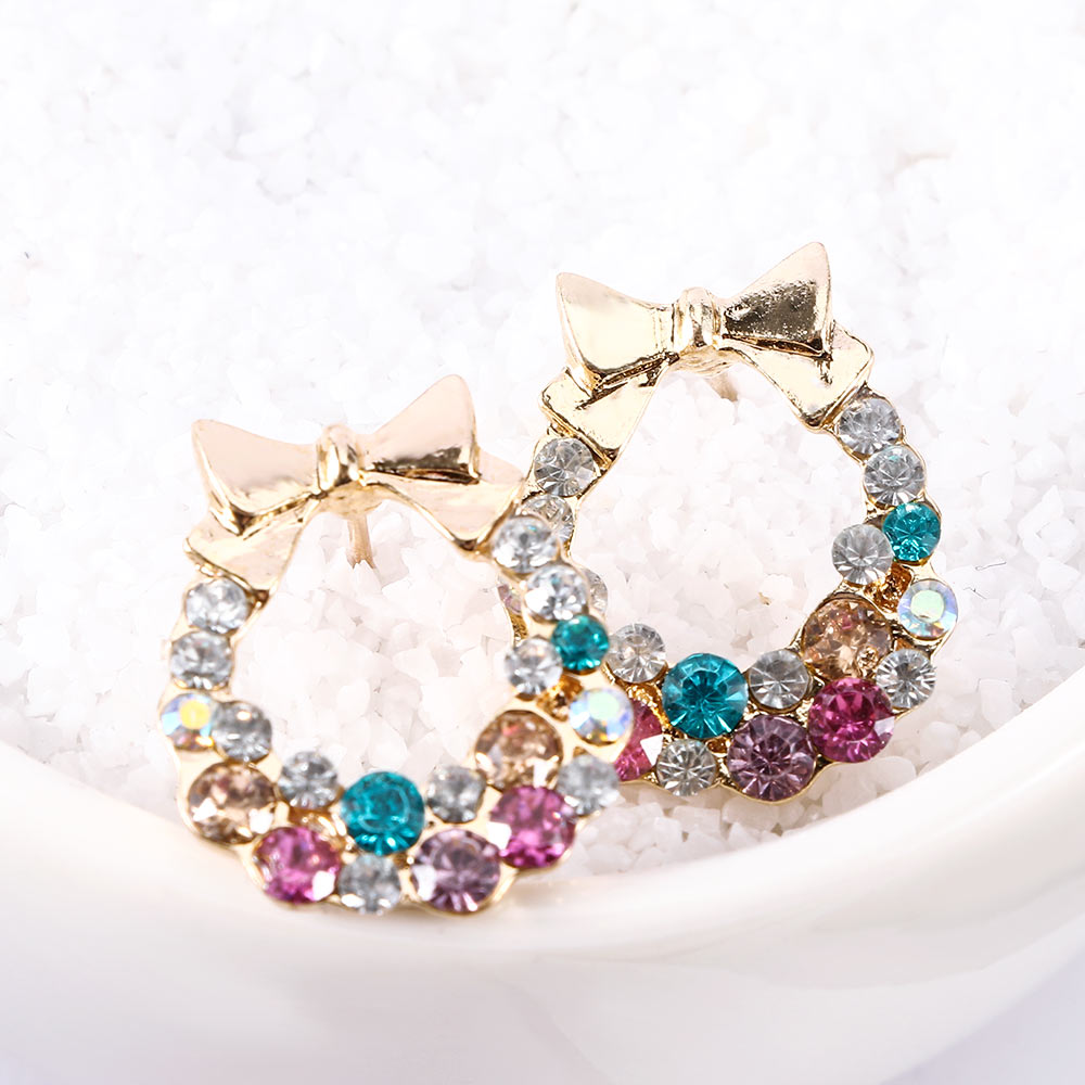 Fashion Elegant Bowknot Stud Earrings For Women Colourful Crystal Rainbow Ear Studs Earrings For Women Jewelry Gift Cheapest Price From Our Site Earrings