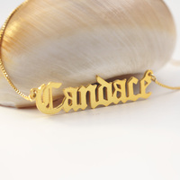 Golden Custom Name Necklace Beautity Diploma Font Namplate 20 Box Chain Men Jewelry Wholesale