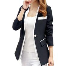 Blazer Feminino 2017 Women Single Button Blazer Long-Sleeve Slim Blazer Black and white patchwork Women Black Blazer