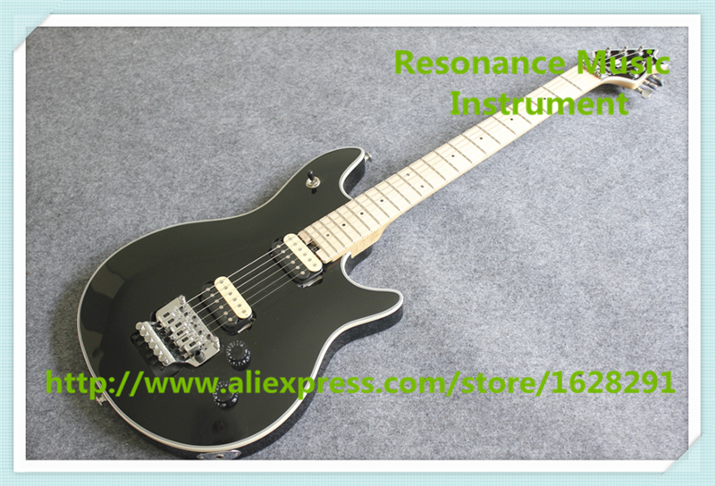Hot Selling Chinese Black Glossy Finish Wolfgang EVH Electric Guitar With Chrome Floyd Rose Tremolo For Sale hot selling china quilted finish musicman ax 40 electric guitar with chrome floyd rose tremolo for sale
