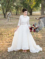 2 Piece Full Lace Wedding Dress Long Sleeve O Neck Floor Length A Line Top Quality Elegant Bridal Gown Vestido De Noiva Custom