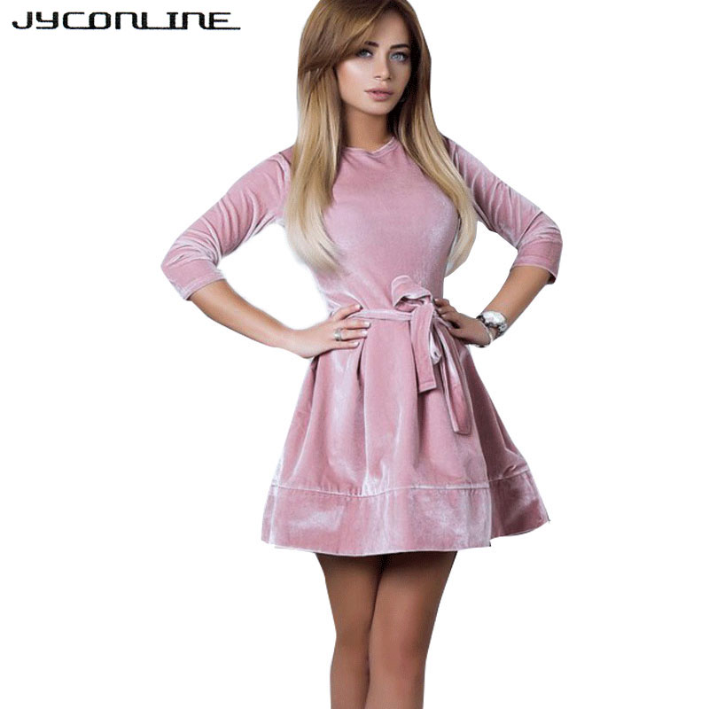 JYConline Fashion Women Velvet Dresses Ukraine Vintage Tunic Slash Winter Dress Pink Ball Gown Sexy Party Dress Female Vestidos image