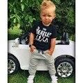 Moda de Nova Verão Crianças Conjuntos de Roupas Carta Impressão Camisetas + calças Meninos Esportes Terno 1-5 Anos Roupa Dos Miúdos Para O Bebê meninos