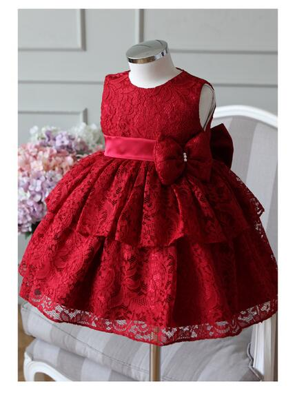Girls Pageant Formal Dresses 2017 Sleeveless Gauze Gowns Lace Christmas Bow Girls Princess Tutu Dress Kids Birthday Party Dress fashion baby girls dress kids christmas party red paillette tutu dresses xmas gift sleeveless princess costume girls dress 10