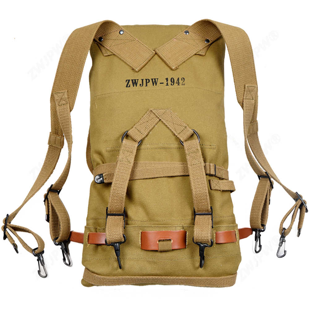 MILITARY WW2 WWII US ARMY M1928 1942 FIELD KNAPSACK BACKPACK AND BELT REPRO