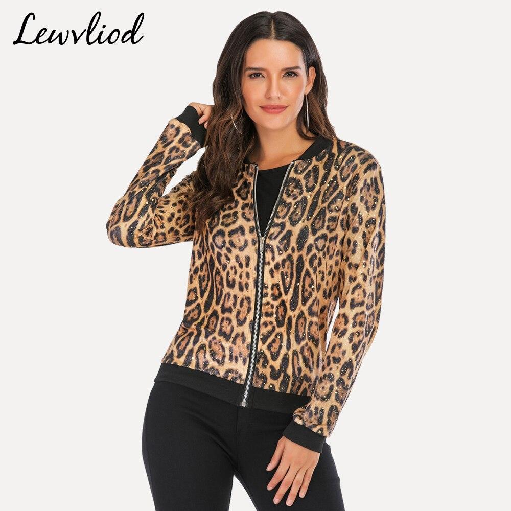 Leopard Gold Stamping Bomber Jacket Women Summer Plus Size Zipper Long Sleeve Coat Female 2019 Short Basic Jackets Ladies Tops
