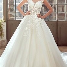 Fnoexw Luxury Appliques Scoop A-Line Wedding dresses