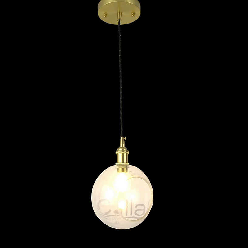 E27 laiton matériel pendentif lumière verre clair à côté du trou vintage cuivre tissu fil décoration de la maison luminaire en laiton suspension lampe