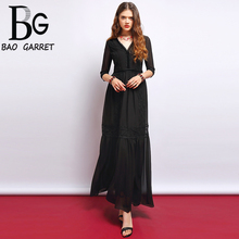 Baogarret New Fashion Runway Summer Dress Women's Deep V-Neck Lace Mesh Overlay Pure Black Elegant Casual Party Long Dress