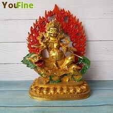 Bronze Buddha Tibetan Painted Craft Lion Cobola Statue Sculpture Supports Various Image Customization