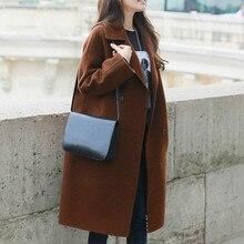 Autumn Winter Women Solid Pocket Long Sleeve Wool Blend Coat Casual Elegant Double Breasted Trench Outwear Woolen Coat Femme