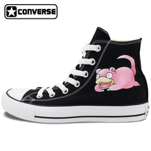High Top Converse All Star Women Men Sneakers Pokemon Slowpoke Design Hand Painted Canvas Shoes Boys Girls Birthday Gifts