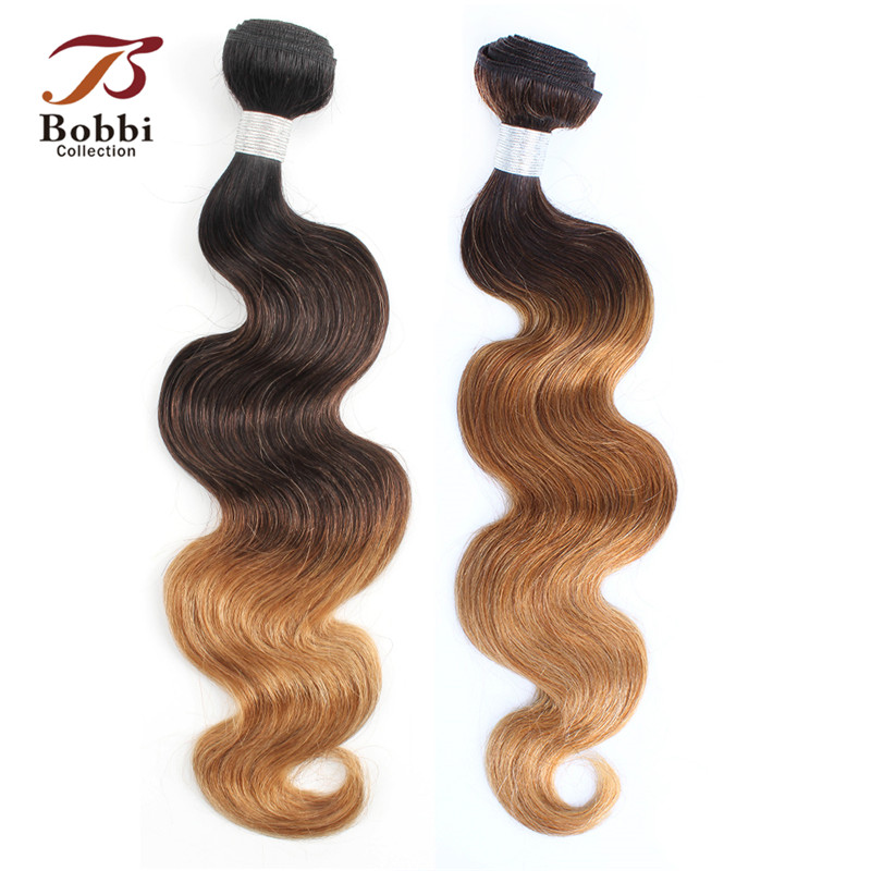 adca39ed66 Bobbi Collection T 4 30 27 Dark Brown Honey Blonde 1B 4 27 Brazilian Body  Wave 1 Bundle Ombre Remy Human Hair Weave Bundles