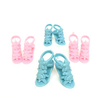 5 Pairs Fashion Plastic High Heel Sandals Summer Shoes For 30cm 11 Inch Girl Dolls Pretend Toy Gift For Children 2 Colors(China)