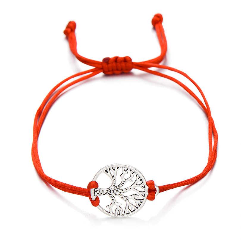 2018 новейший серебряный цвет браслет с деревом жизни браслеты для женщин и мужчин Дети простой красный плетеный браслет Пара DIY ювелирные изделия подарок