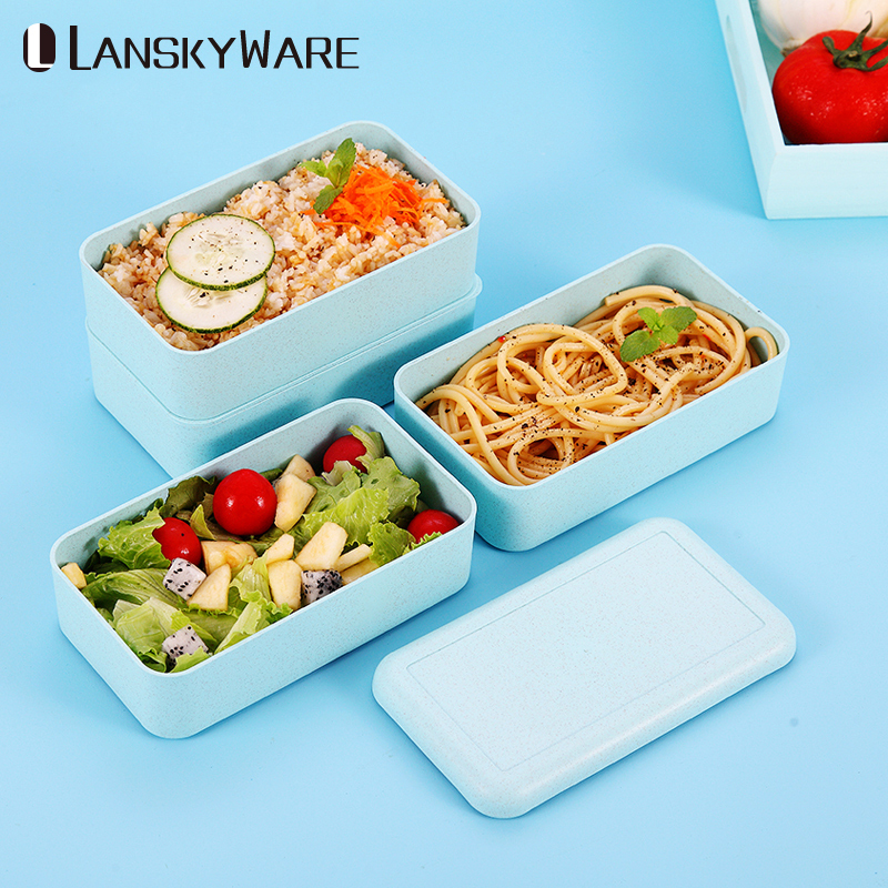 Japanese Microwave Lunch Box For Kids Wheat Straw Portable Leakproof Bento Box For School Children Food Storage Container in Lunch Boxes from Home Garden