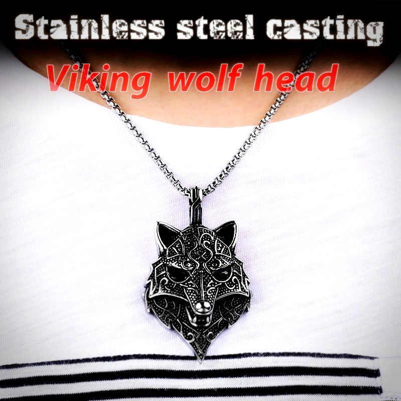 Żołnierz ze stali viking naszyjnik thor wyjący wilk z czarnym kamieniem urok wisiorek naszyjnik człowiek biżuteria punkowa stalowy łańcuch ze stali nierdzewnej