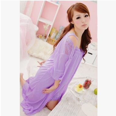 New Fashion Robe Gown Sets Sexy Lace Lingerie Set Womens Sleepwear 2 Pieces Sleep Suits Womens Nightwear Home Clothes A395