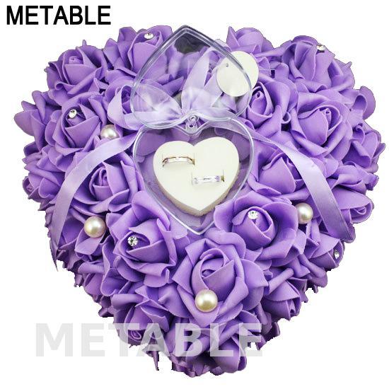 Us 29 0 Metable Brautigam Braut Kissen Ring Herz Form Satin Rose Blume Hochzeit Ringe Halter 26 26 13 Cm Romantische Schmuckschatulle Wjp001 In