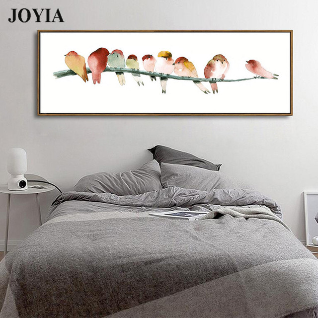 2ce2489f14c Watercolor Birds Art Prints Rectangle Canvas Bird Wall Painting Minimalism  Home Bedside Decor Color Birds Paintings No Frame