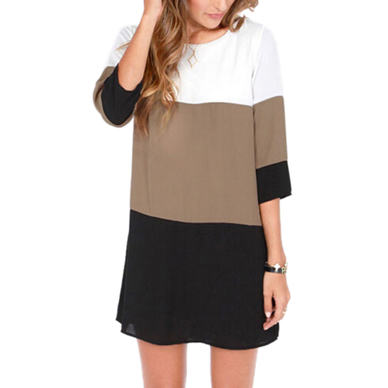 New Fashion Women Casual Dress 2019 Autumn Winter Contrast Color Blocks Chiffon Half Sleeves Shift Tunic Vestidos Feminina