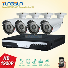 Super New 4 Channel Home HD 3MP Security Camera System AHD 1920P Video Surveillance infrared Bullet White 4CH DVR CCTV Camera