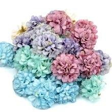 Flor artificial barata de seda, cabeça de hortência para decoração de casamento, álbum de recortes, artesanato e flores falsas, 10 pçs/lote