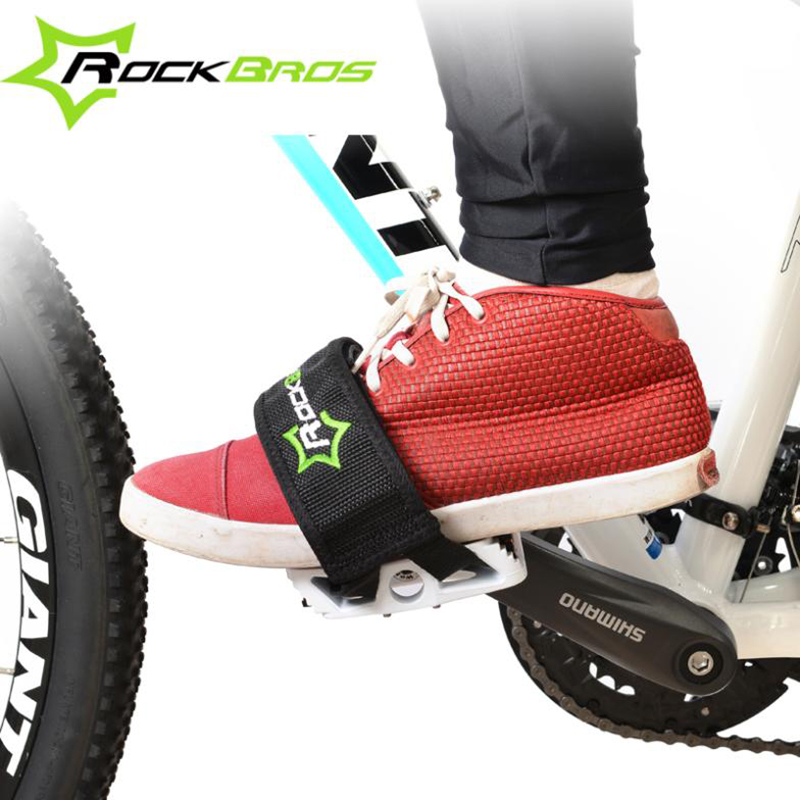 RockBros Bicycle Fixed Gear Cycling Pedals Bands Feet Set With Straps Beam Foot Cycling Bike Anti-slip Bicycle Pedals Strap 1 pair bicycle cycling pedal straps belts fix bands tape generic for most schwinn