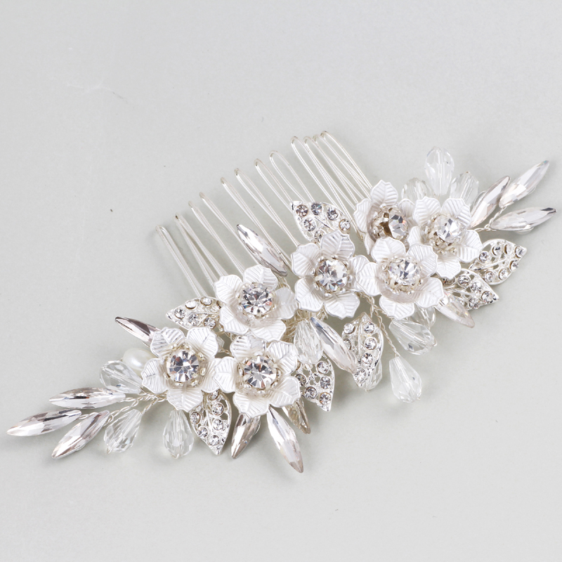 Drop Shipping Handmade Crystals Rhinestones Pearls Floral Wedding Hair Comb Bridal Headpieces Hair Accessories Wedding Jewelry free shipping retail hair comb sinamay fascinator hats feather hair accessories wedding headwear 17 color are avaliable rmsf101