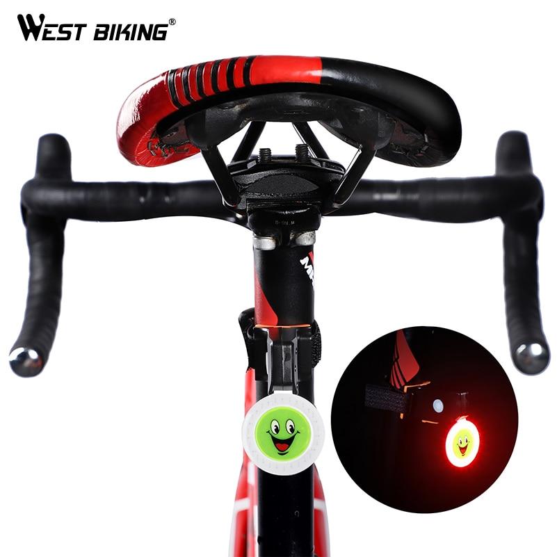 WEST BIKING Bike Tail Light 5 Modes Waterproof LED Tail Lamp Warning Safety Bicycle Rear Light USB Charging Smile Cycling Lights
