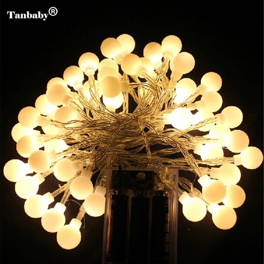 Tanbaby 5m 50leds Battery Powered Led Ball String Fairy Lights Lamps For Patio Garden Camping Holiday Party Wedding In From