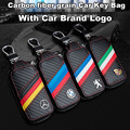 Carbon fiber grain Flag Colors Pu Leather Car Key Protect Bag Case Shell Chain Ring With Badge Logo Emblem For All Car Brand
