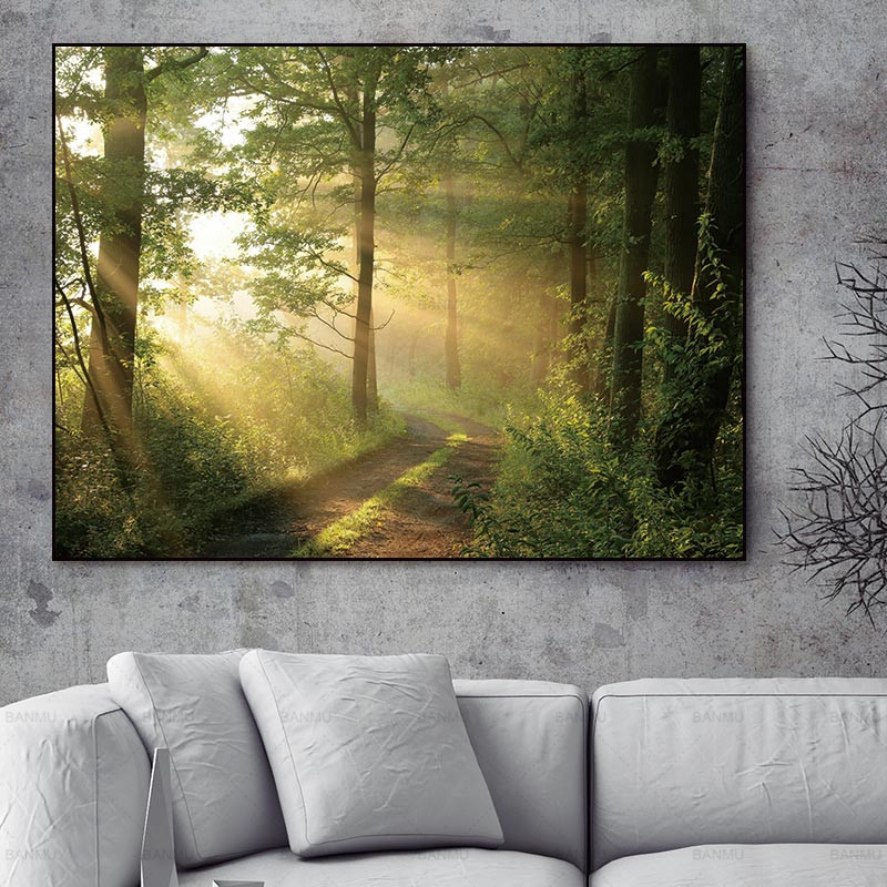 Wall Art Picture Abstract Canvas Painting Forest Picture  Art Wall  Oil Painting On Canvas The Canvas Print Living Room No Frame