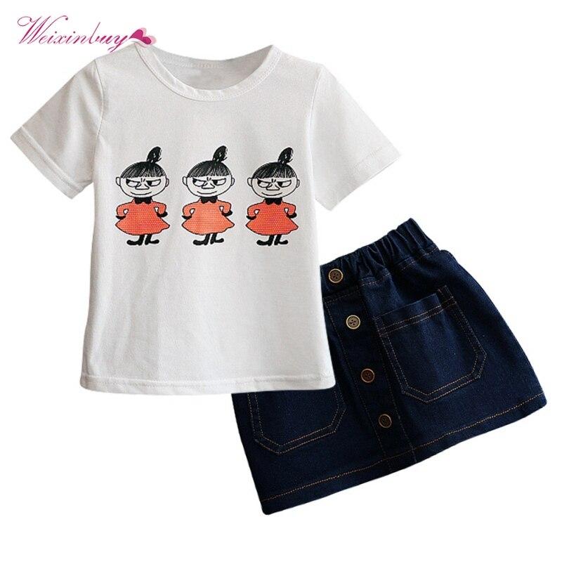 2017 Summer Kids Girls Clothing Sets Cute Printed Short Sleeve T-shirt + Denim Skirt Children Clothes 2-7T