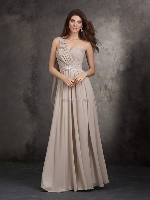 Beige chiffon bridesmaid dresses for Beige dress for wedding guest