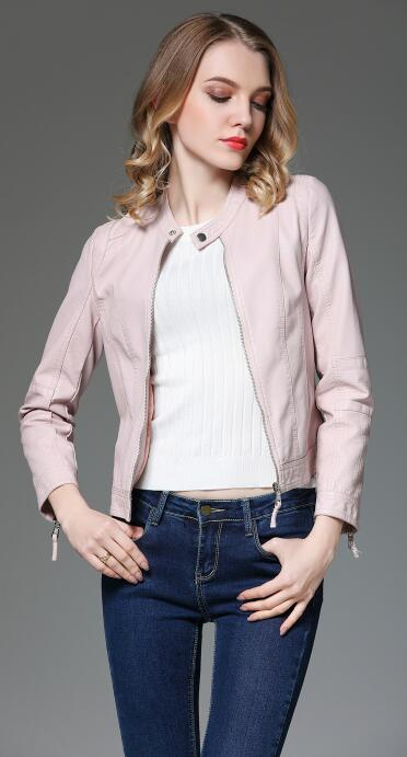 High quality female jacket 2018 spring jacket new locomotive pu washed   leather   Korean   leather   jacket jacket