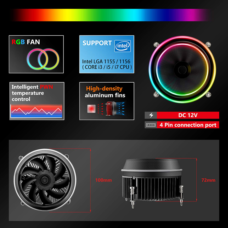 Image 4 - darkFlash Shadow CPU Cooler AURA SYNC Cooling Double Ring LED Fan PWM 100mm 4 pin Radiator for intel Core i7 LGA 115x TDP 280WFans & Cooling   -