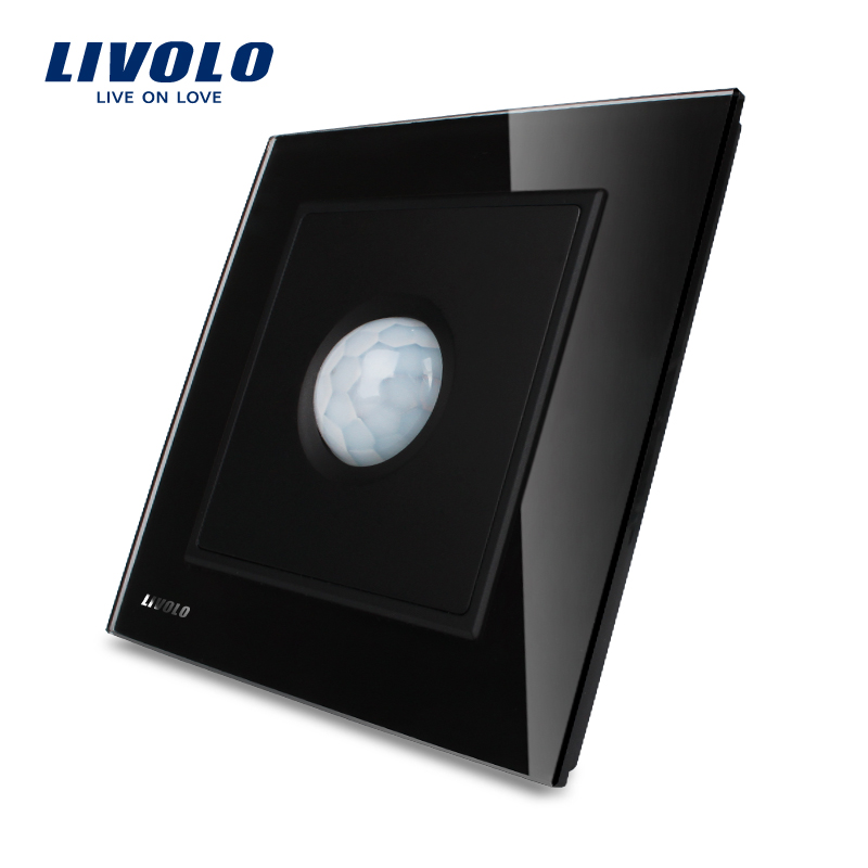 Manufacturer LIVOLO Knight Black / Ivory White Crystal Glass Panel AC 110~250V Motion Sensor Light Switch VL-W291RG-11 6l2 v panel ac voltmeter black white 0 450v