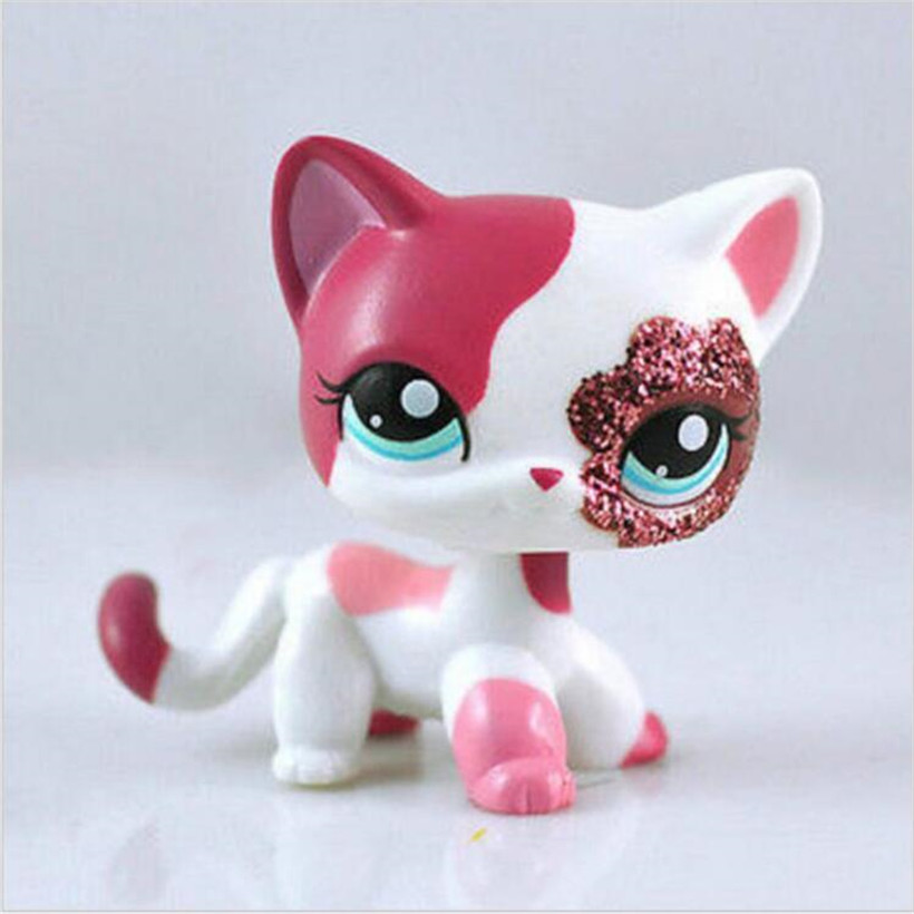 Pet Shop Sparkle Eyes White Red Short Hair Kitty Anime Action Figure Girls Collection Classic Pet CAT Juguetes Kids Toys