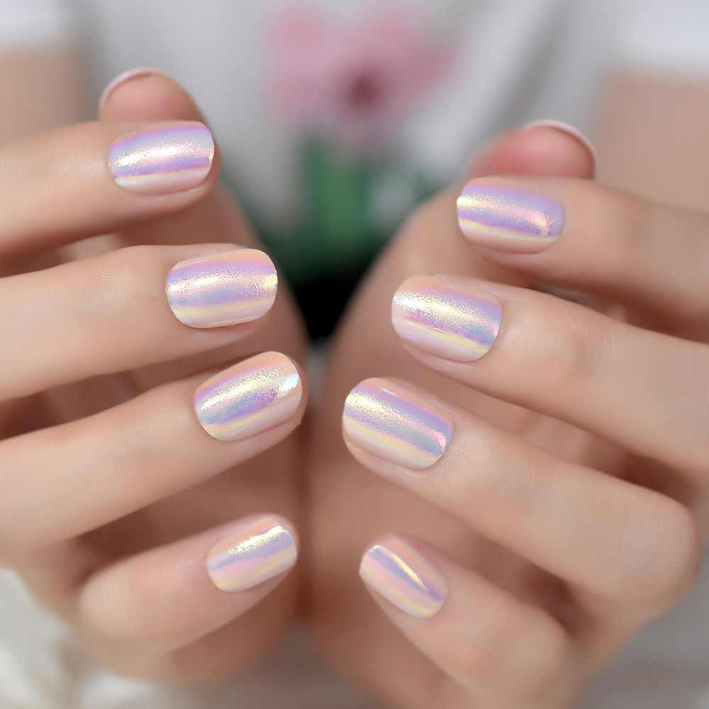 Magic Color Holo Chameleon Pink Purple False Nails Abalone Shell Gold Light Short Round Fake Nail Full Cover Finger Tips