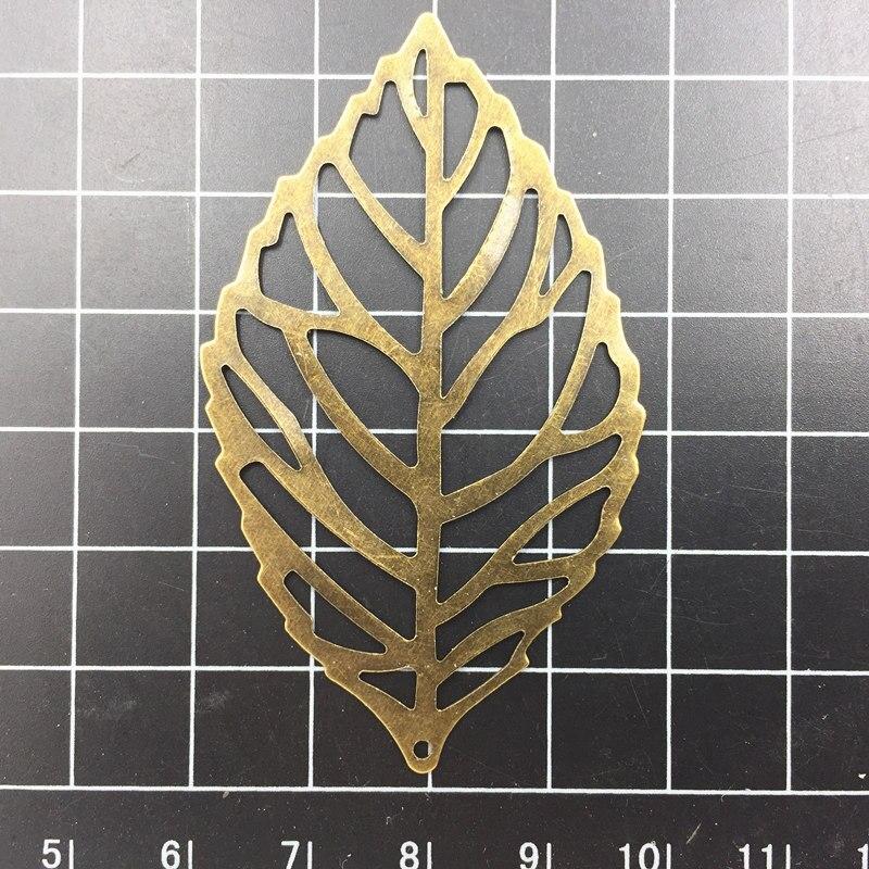 10Pcs Pendants Embellishments Antique Bronze Tone Filigree Leaf Leaves Tags Alloy Bag Ornament DIY 6.4cm