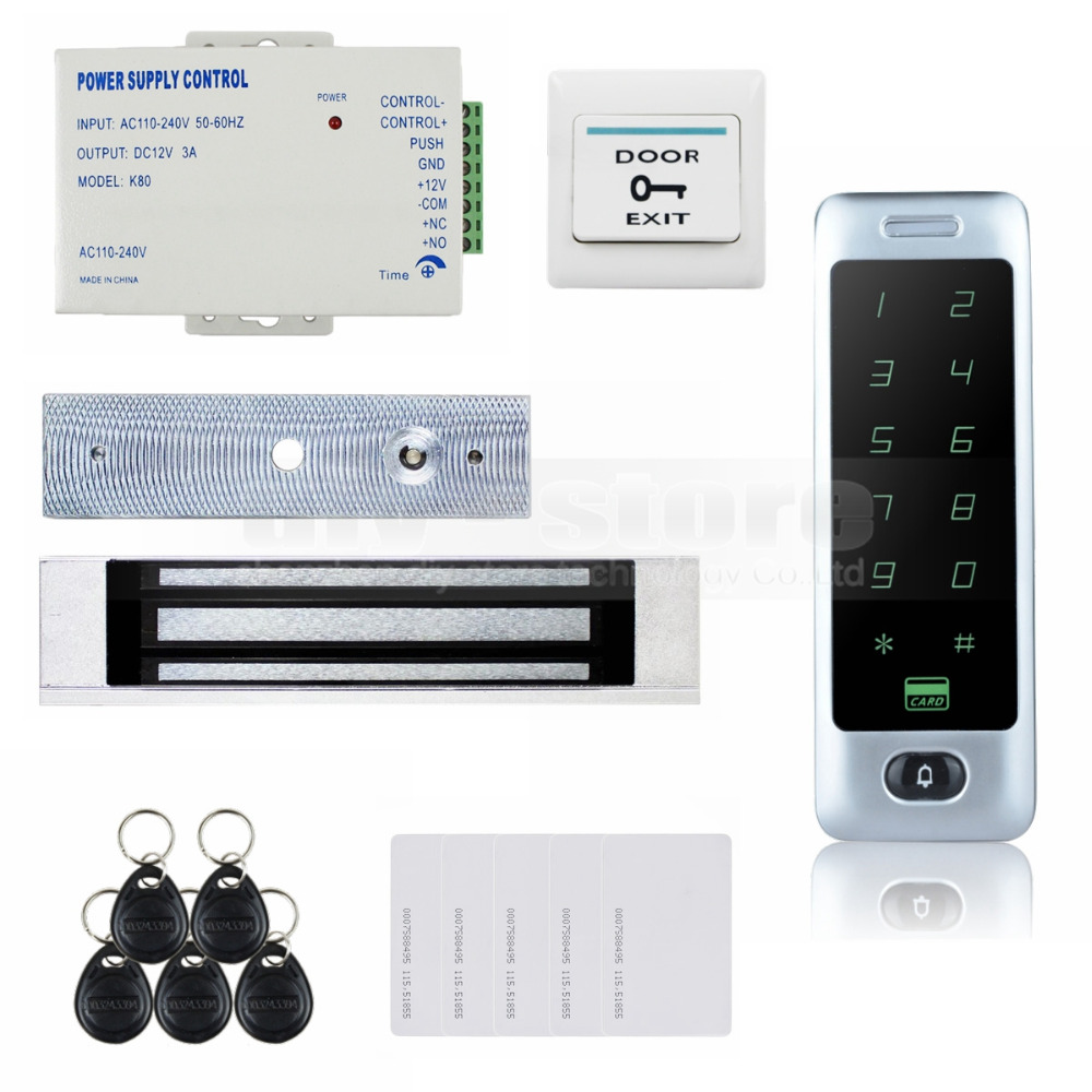 DIYSECUR 125KHz RFID Reader Password Keypad Door Access Control Security System Kit + 180KG Magnetic Lock C40 diysecur 125khz rfid reader password keypad access control system security kit 280kg magnetic lock door lock exit button