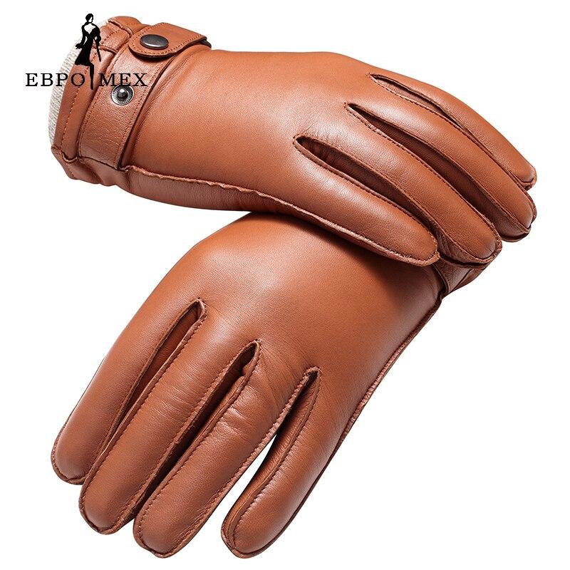 Guantes de cuero genuino de calidad superior guantes de cuero de moda para hombre guantes de conducción Vintage guantes cálidos de invierno piel de cordero marrón
