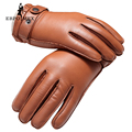 Guantes mitones de Cuero genuino del Grado Superior de Moda masculina guantes guantes de invierno cálido guantes de cuero de conducción de La Vendimia Marrón de piel de cordero