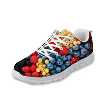 NOISYDESIGNS 3D Fruit Pattern Autumn Casual Shoes Flats Woman Light Breathable Lace-up Flat for Ladies Women Leisure Shoe